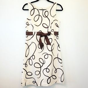 Jessica Howard Petite off white & brown  Bow Dress